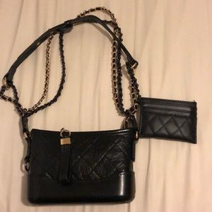 quilted two tone bag and cardholder